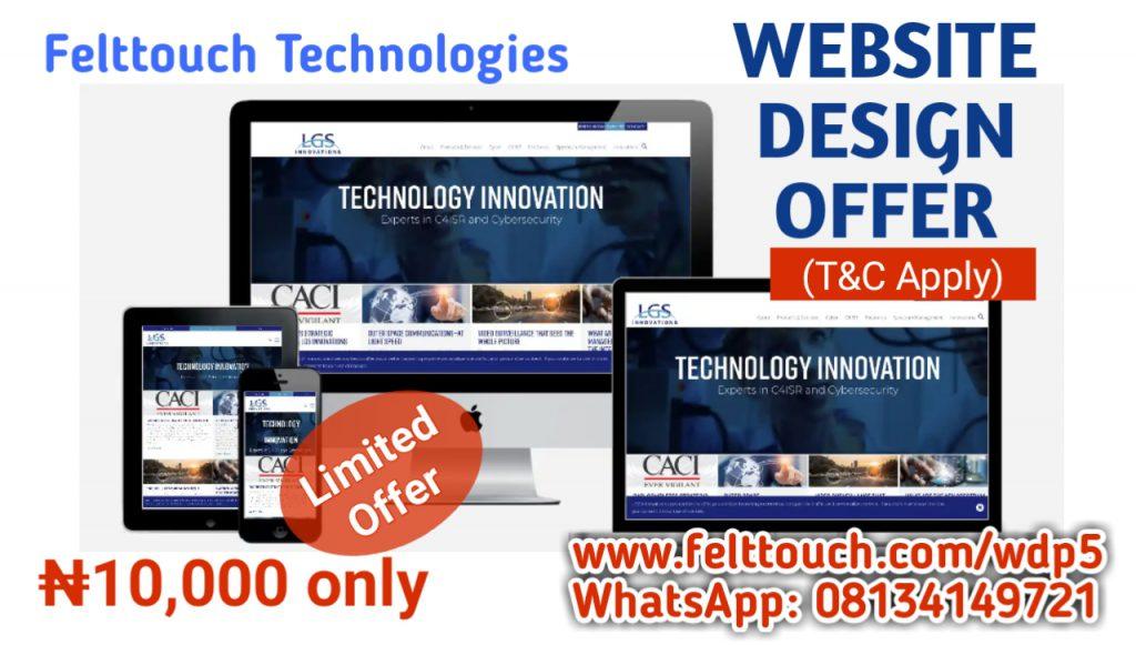 Website Design Offer @ N10,000 only